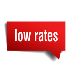 low rates red 3d speech bubble vector image