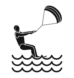 Man takes part at kitesurfing icon simple style vector