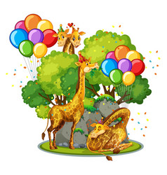 Many giraffes in party theme in nature forest vector
