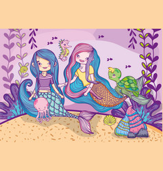 mermaids friends under water with animals vector image