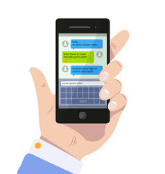 messenger screen mobile text messages in speak vector image