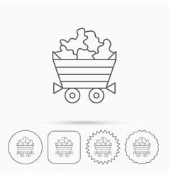 Minerals icon Wheelbarrow with jewel gemstones vector