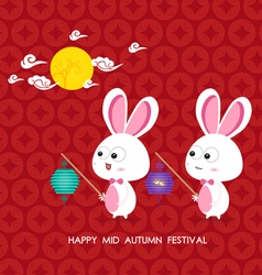 Moon rabbits of mid autumn festival vector