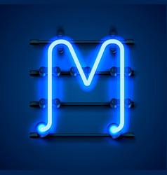 Neon font letter m art design signboard vector