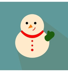Nice snowman on the blue background vector image