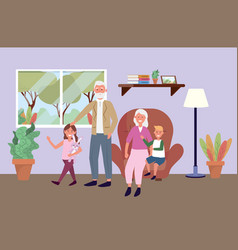 old man and woman with kids and plants vector image