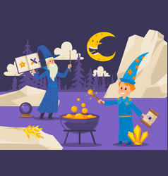old wizard teaches young student to cook magical vector image