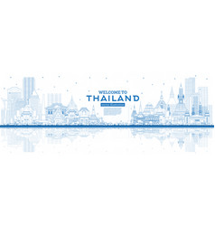 outline welcome to thailand city skyline with vector image