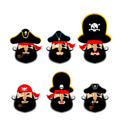 Pirate emoji head set filibuster sad and merry vector