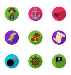 Pirates set icons in flat style Big collection of vector image