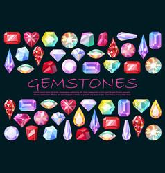 Precious stones cut gemstones and brilliants vector