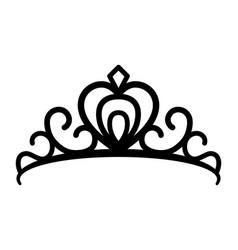 Princes tiara crown or royal diadem line art icon vector
