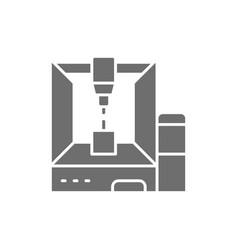 Professional 3d printer 3 dimensional model grey vector