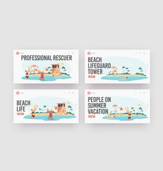professional rescuer landing page template set vector image