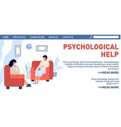 Psychotherapy landing page psychologist and vector