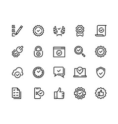 quality control line icons check mark and approve vector image