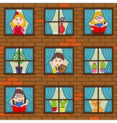 Seamless pattern brick wall with children in vector