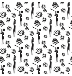 Seamless pattern with african people and native vector