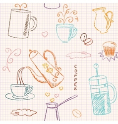 Seamless pattern with hand drawn coffee items vector image