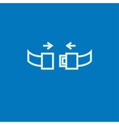 Seat belt line icon vector