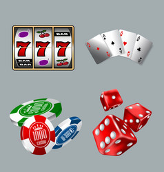 set gambling icons for casino game with slot vector image