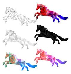 set horse polygon geometric vector image