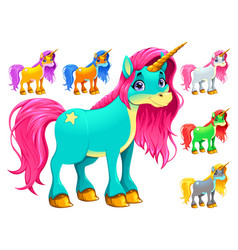 Set of cartoon unicorns vector