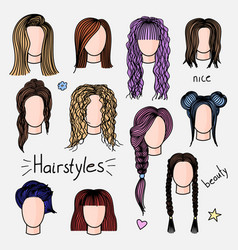 set of hand drawn womens hairstyles vector image