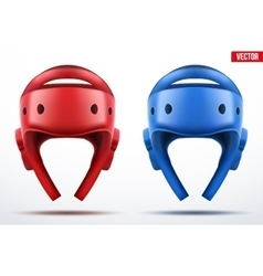 Set of Red and Blue Taekwondo helmets vector