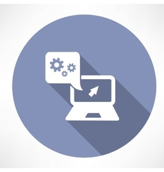 Settings in the laptop icon vector