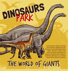 Sketch dinosaurs park poster vector