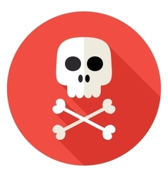 Skull with Bones Circle Icon vector image