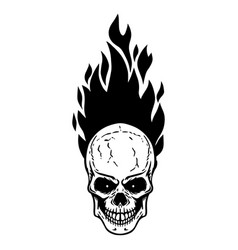 Skull with fire on white background design vector