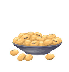Soybean in bowl vector