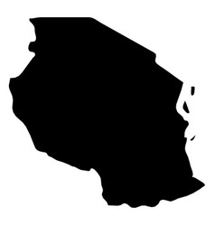 Tanzania - solid black silhouette map of country vector