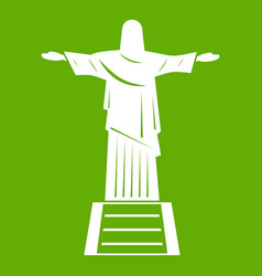 The christ the redeemer statue icon green vector