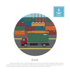 truck with a container unloading crane vector image