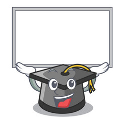 Up board graduation hat character cartoon vector