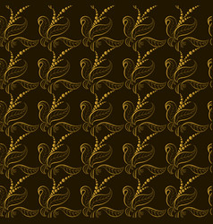 wallpaper golden leaves on a black background vector image