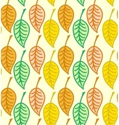 Warm colored seamless autumn leaves pattern vector image