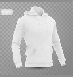 White mens hooded sweatshirt mockup vector