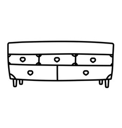 Wooden drawers furniture hearts handles decoration vector
