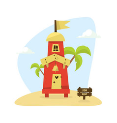 wooden tropical bungalow house on beach for rent vector image