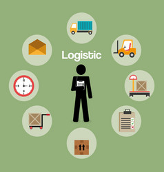 Worker logistic service silhouette vector