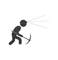 Worker mining pick axe helmet light figure vector