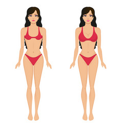 cartoon girl breasts before and after vector image vector image