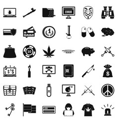 Criminal spam icons set simple style vector