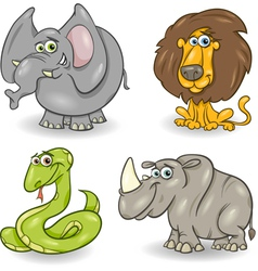 cute wild animals set vector image