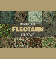 set of forest flectarn camouflage seamless pattern vector image
