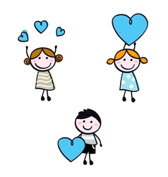 stick doodle kids vector image vector image